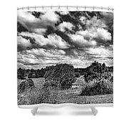 Cloudy Countryside Collage - Black And White Shower Curtain