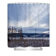 Cloudy Daybreak Dry Thistles Shower Curtain