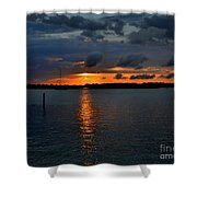 Cloudy Harbor Sunset  Shower Curtain