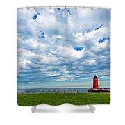Cloudy Milwaukee Harbor Shower Curtain