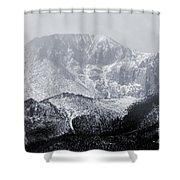 Cloudy Misty Pikes Peak Shower Curtain