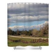 Cloudy Sky With A Log Fence Shower Curtain by Robert D  Brozek