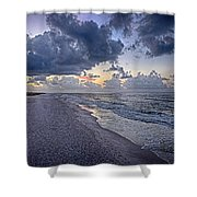 Cloudy Sunrise Over Orange Beach Shower Curtain