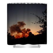 Clover Fire At Night Shower Curtain