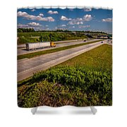 Clover Leaf Exit Ramps On Highway Near City Shower Curtain