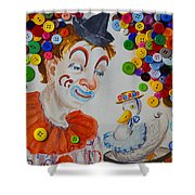 Clown And Duck With Buttons Shower Curtain