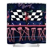 Club Flamingo Shower Curtain