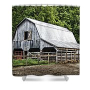 Clubhouse Road Barn Shower Curtain by Cricket Hackmann