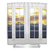 Co Mountain Gold View Out An Old White Double 16 Pane White Window Shower Curtain