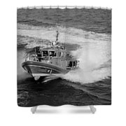 Coast Gaurd In Action In Black And White Shower Curtain