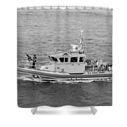 Coast Guard On Patrol In Black And White Shower Curtain
