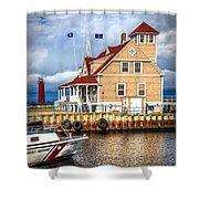 Coast Guard Station On Muskegon Lake Shower Curtain