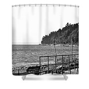Coast Line B And W Shower Curtain