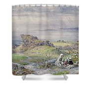Coast Scene With Children In The Foreground, 19th Century Shower Curtain