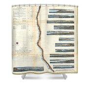 Coast Survey Chart Or Map Of California And Oregan North Of San Francisco Shower Curtain