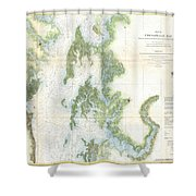 Coast Survey Chart Or Map Of The Chesapeake Bay Shower Curtain