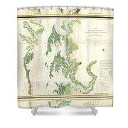 Coast Survey Map Of The Chesapeake Bay  Shower Curtain