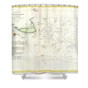 Coast Survey Nautical Chart Or Map Of Nantucket Massachusetts Shower Curtain