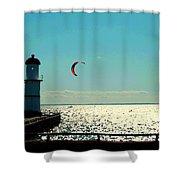 Coast To Coast Sea To Sky Flies Curiosity Crescent Kite Night Scenes On The Canal Carole Spandau Shower Curtain