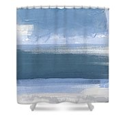 Coastal- Abstract Landscape Painting Shower Curtain