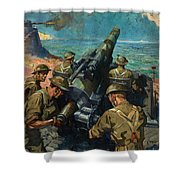 Coastal Battery Scene Artist Terence Cuneo Shower Curtain