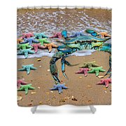Coastal Crab Collection Shower Curtain