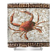 Coastal Crab Decorative Painting Greek Border Design By Madart Studios Shower Curtain