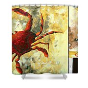 Coastal Crab Decorative Painting Original Art Coastal Luxe Crab By Madart Shower Curtain