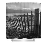 Coastal Dunes In Black And White Shower Curtain