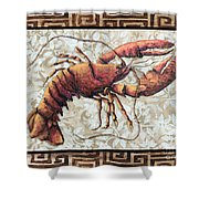 Coastal Lobster Decorative Painting Greek Border Design By Madart Studios Shower Curtain