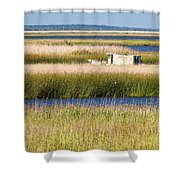 Coastal Marshlands With Old Fishing Boat Shower Curtain by Bill Swindaman