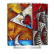 Coastal Martini Cityscape Contemporary Art Original Painting Heart Of A Martini By Madart Shower Curtain