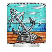 Coastal Nautical Decorative Art Original Painting Anchor Rope And Dock Anchors  Away By Madart Shower Curtain