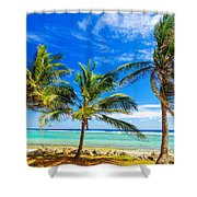 Coastal Palm Trees Shower Curtain