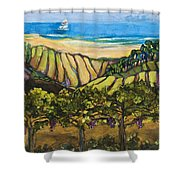 California Coastal Vineyards And Sail Boat Shower Curtain