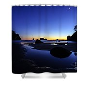 Coastal Sunset Skies Reflection Shower Curtain