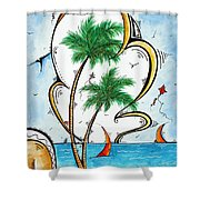 Coastal Tropical Art Contemporary Sailboat Kite Painting Whimsical Design Summer Daze By Madart Shower Curtain