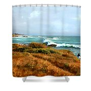 Coastal Waves Roll In To Shore Shower Curtain