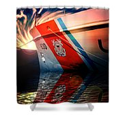Coast Guard Uscg Alert Wmec-630 Shower Curtain by Aaron Berg