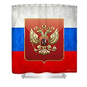 Coat Of Arms And Flag Of Russia Shower Curtain