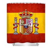 Coat Of Arms And Flag Of Spain Shower Curtain