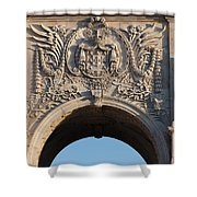 Coat Of Arms Of Portugal On Rua Augusta Arch In Lisbon Shower Curtain