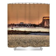 Cobalt And Bridge Shower Curtain by Michael Thomas