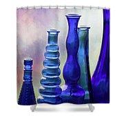 Cobalt Blue Bottles Shower Curtain