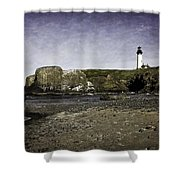 Cobble Beach At Yaquina Lighthouse Shower Curtain