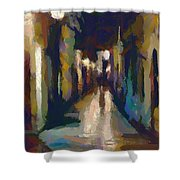 Cobblestone Nighttime Street Shower Curtain