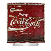 Coca Cola Red Grunge Sign Shower Curtain