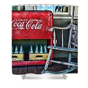 Coca Cola Vintage Cooler And Rocking Chair Shower Curtain