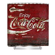 Coca Cola Wood Grunge Sign Shower Curtain