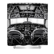 cockpit of a DC3 Dakota Shower Curtain